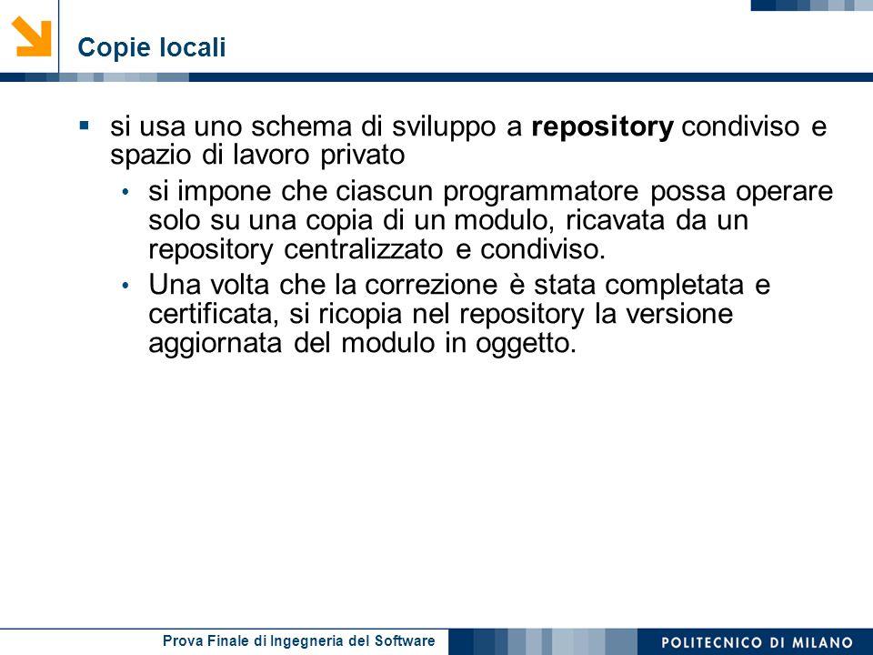 Copie locali si usa uno schema di sviluppo a repository condiviso e spazio di lavoro privato.