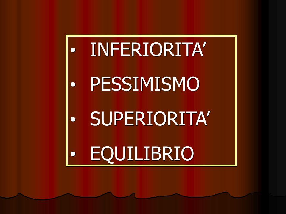 INFERIORITA' PESSIMISMO SUPERIORITA' EQUILIBRIO
