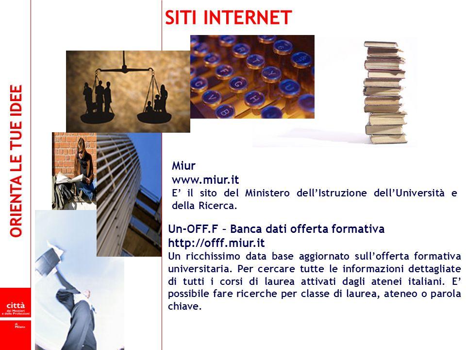 SITI INTERNET Miur www.miur.it Un-OFF.F – Banca dati offerta formativa