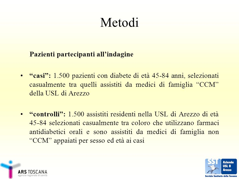 Metodi Pazienti partecipanti all'indagine