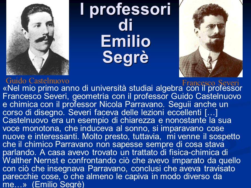 I professori di Emilio Segrè