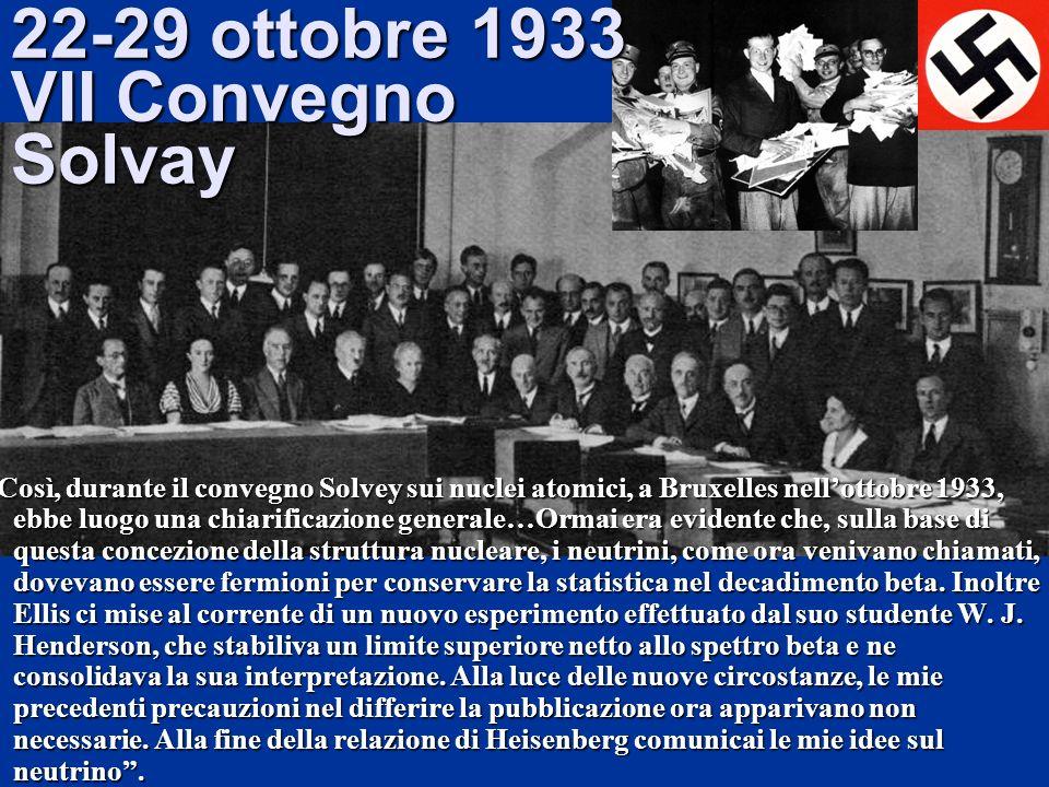 22-29 ottobre 1933 VII Convegno Solvay