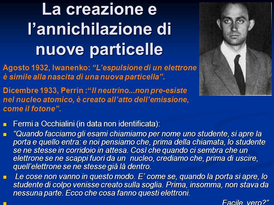 La creazione e l'annichilazione di nuove particelle