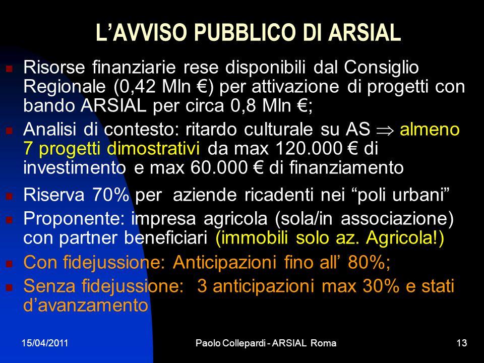 L'AVVISO PUBBLICO DI ARSIAL