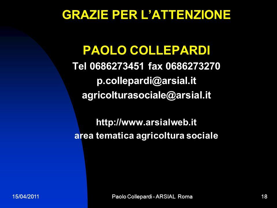 GRAZIE PER L'ATTENZIONE area tematica agricoltura sociale