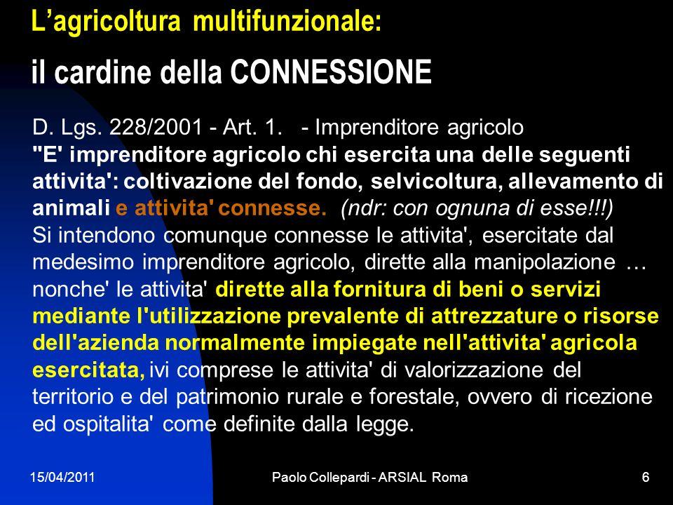 L'agricoltura multifunzionale: il cardine della CONNESSIONE