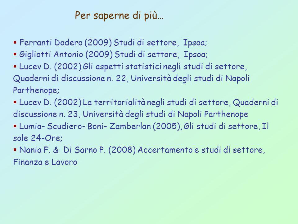 Per saperne di più… Ferranti Dodero (2009) Studi di settore, Ipsoa;