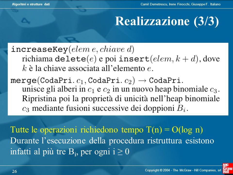 Realizzazione (3/3) Tutte le operazioni richiedono tempo T(n) = O(log n)