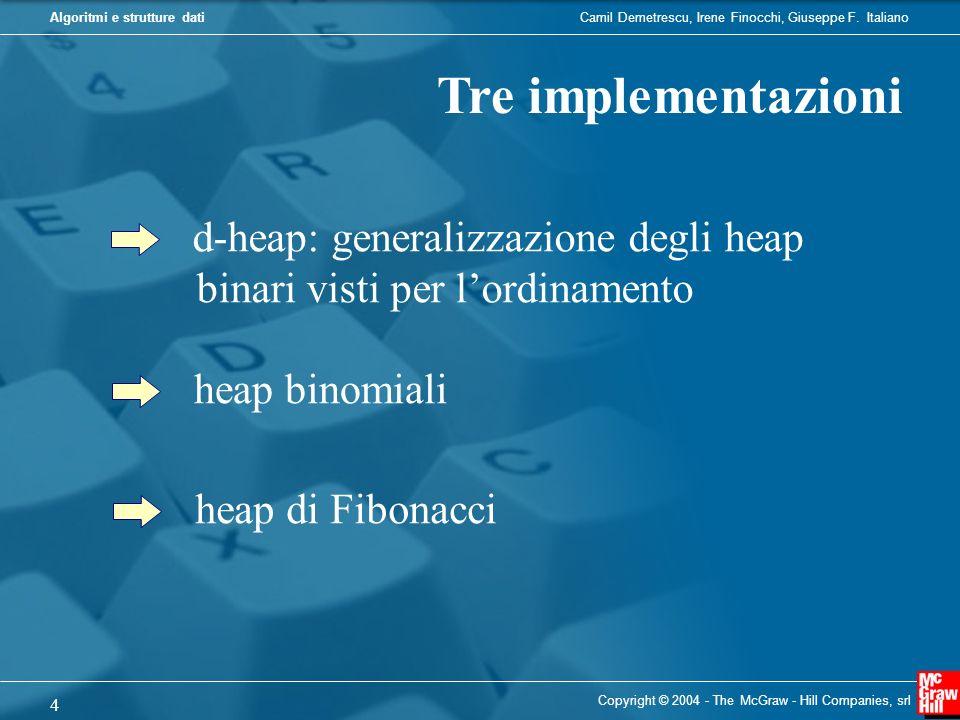 Tre implementazioni d-heap: generalizzazione degli heap binari visti per l'ordinamento. heap binomiali.
