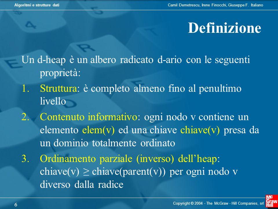 Definizione Un d-heap è un albero radicato d-ario con le seguenti proprietà: Struttura: è completo almeno fino al penultimo livello.