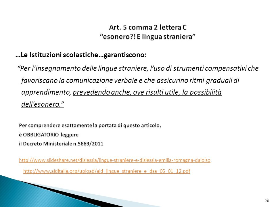 Art. 5 comma 2 lettera C esonero ! E lingua straniera