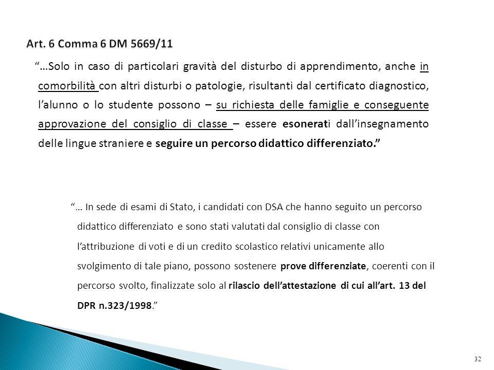 Art. 6 Comma 6 DM 5669/11