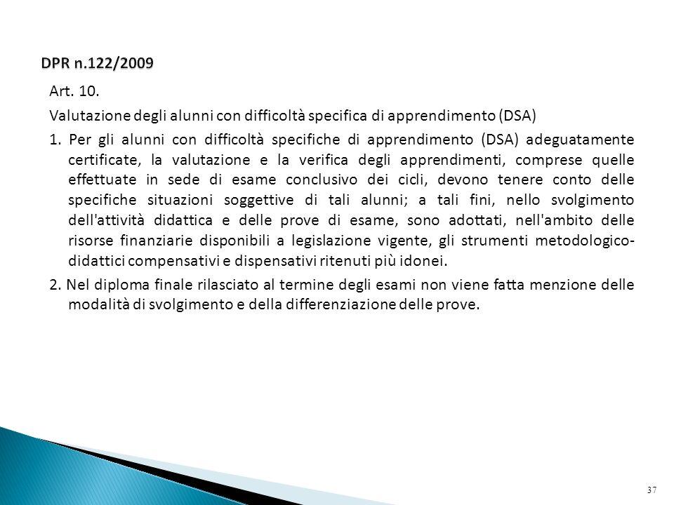DPR n.122/2009