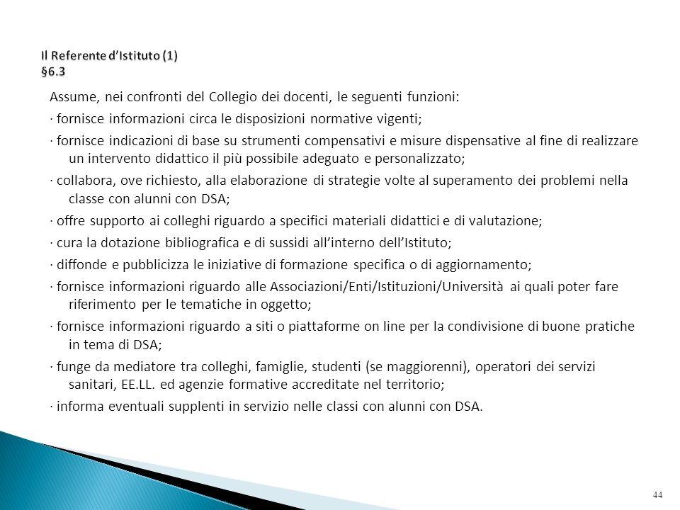 Il Referente d'Istituto (1) §6.3