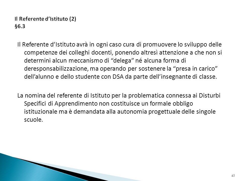 Il Referente d'Istituto (2) §6.3