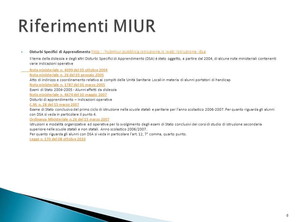 Riferimenti MIUR Disturbi Specifici di Apprendimento http://hubmiur.pubblica.istruzione.it/web/istruzione/dsa.