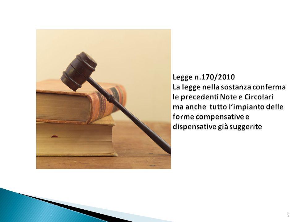 Legge n.170/2010 La legge nella sostanza conferma le precedenti Note e Circolari ma anche tutto l'impianto delle forme compensative e dispensative già suggerite