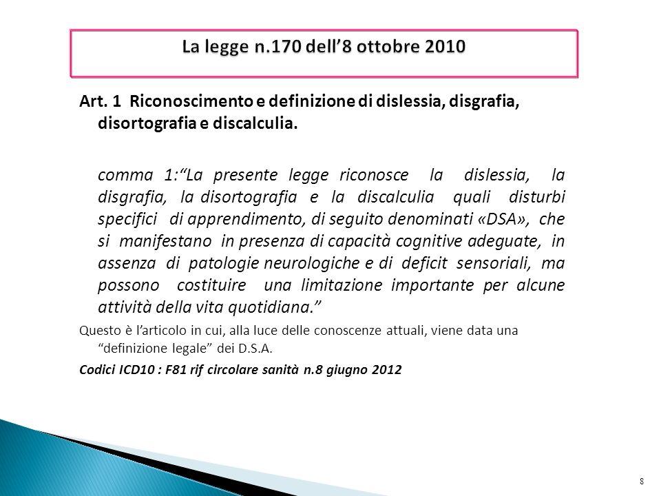 La legge n.170 dell'8 ottobre 2010