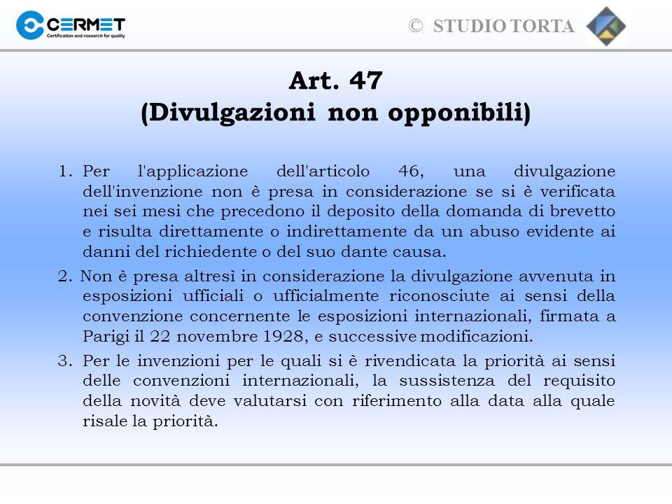 Art. 47 (Divulgazioni non opponibili)