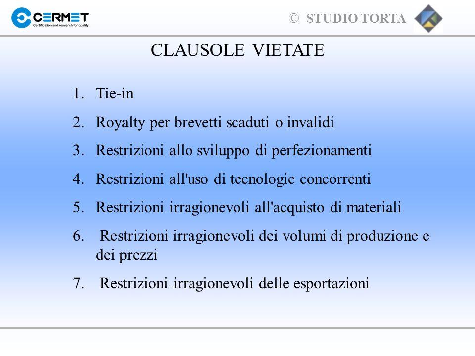 CLAUSOLE VIETATE 1. Tie-in 2. Royalty per brevetti scaduti o invalidi