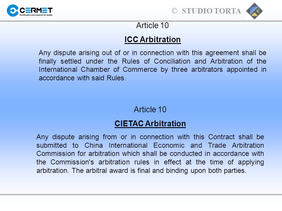 ICC Arbitration CIETAC Arbitration