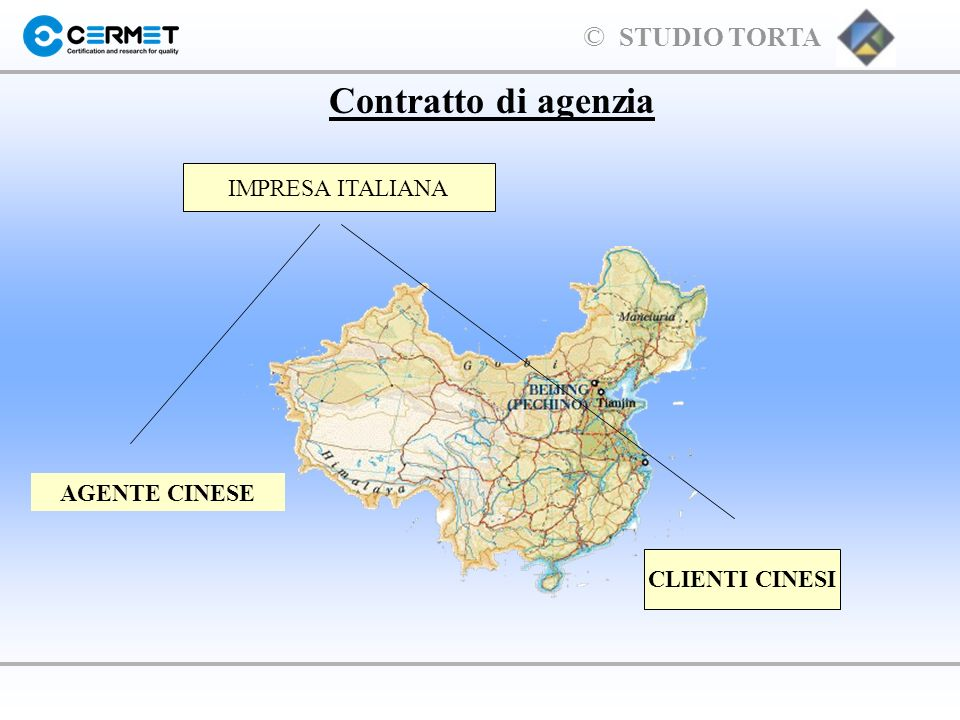 Contratto di agenzia IMPRESA ITALIANA AGENTE CINESE CLIENTI CINESI