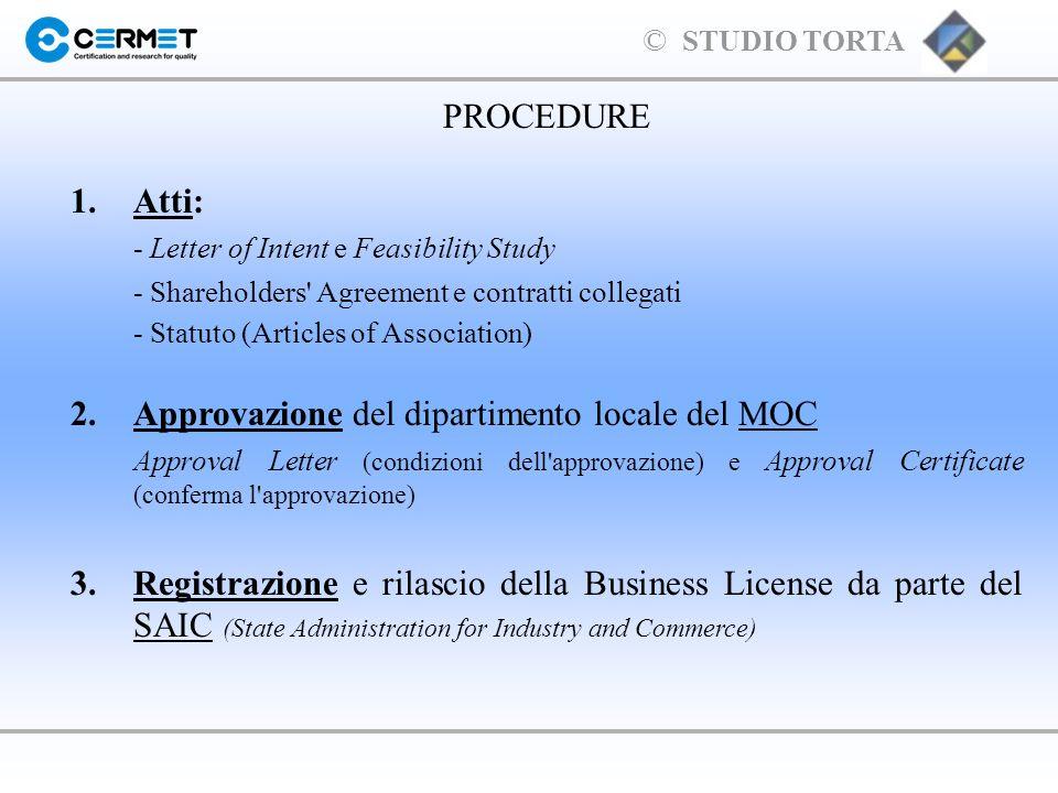 2. Approvazione del dipartimento locale del MOC