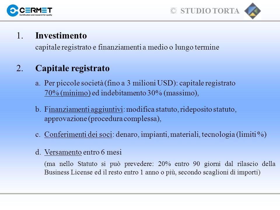 capitale registrato e finanziamenti a medio o lungo termine