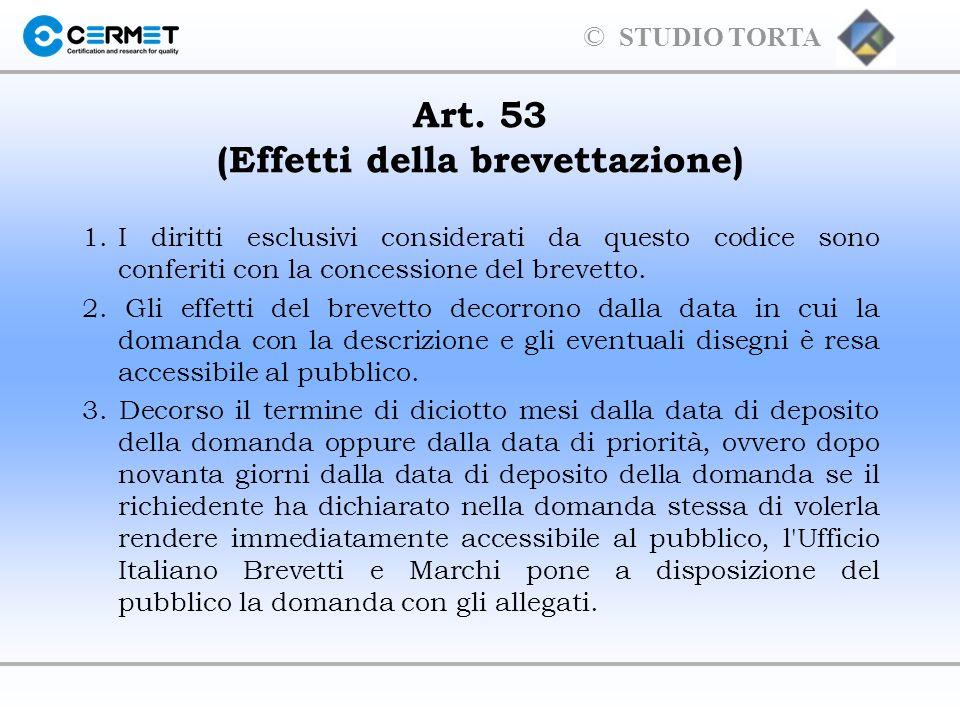 Art. 53 (Effetti della brevettazione)