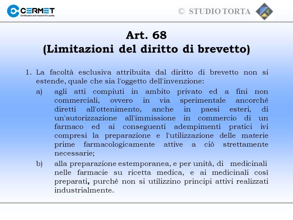 Art. 68 (Limitazioni del diritto di brevetto)