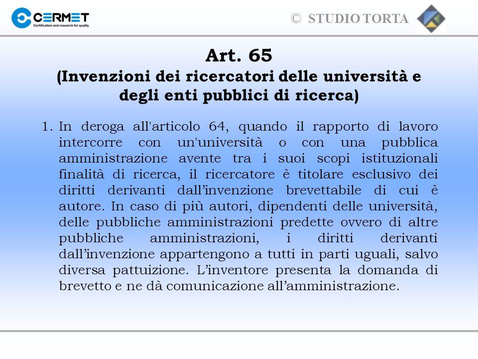 Art. 65 (Invenzioni dei ricercatori delle università e degli enti pubblici di ricerca)