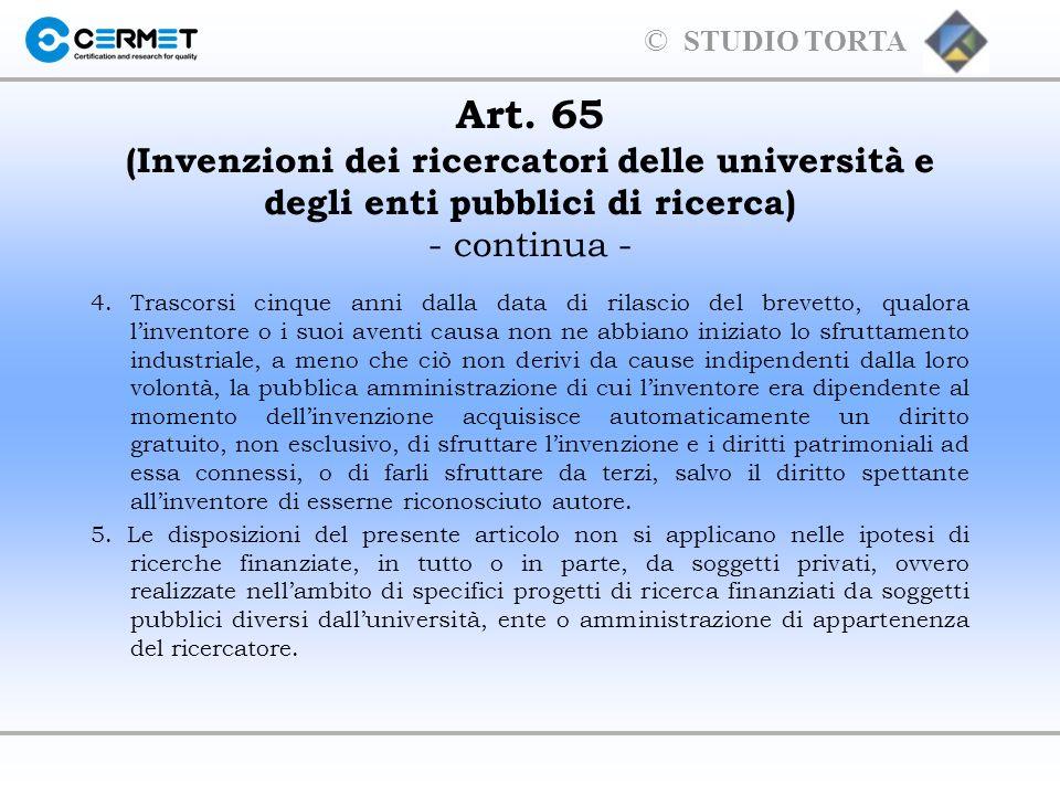 Art. 65 (Invenzioni dei ricercatori delle università e degli enti pubblici di ricerca) - continua -