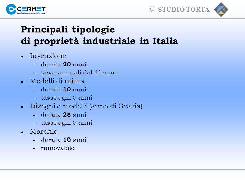 Principali tipologie di proprietà industriale in Italia