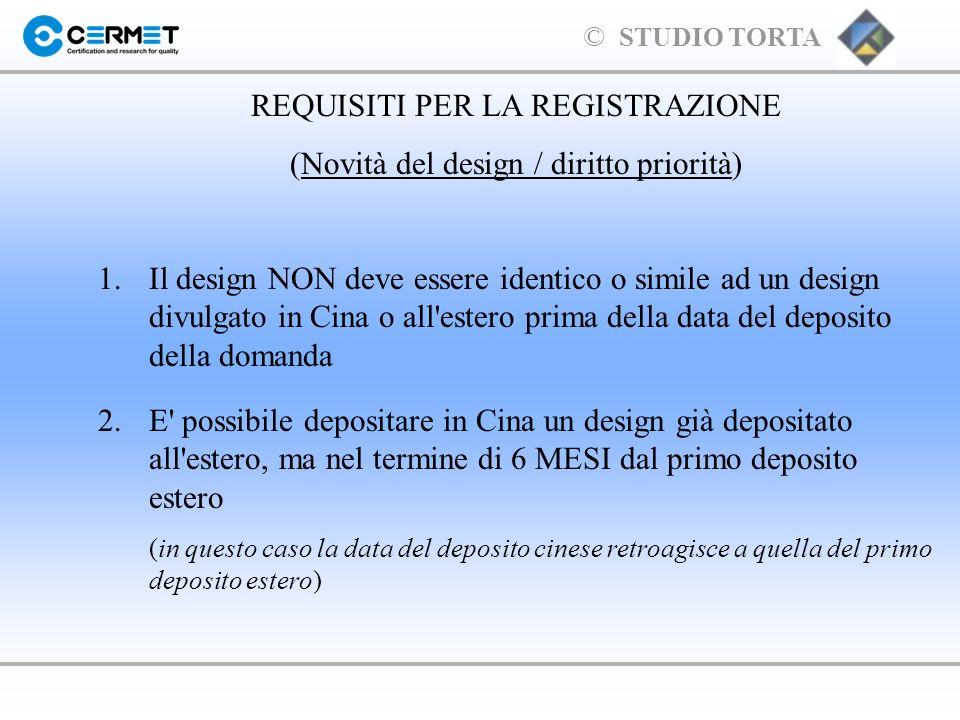 REQUISITI PER LA REGISTRAZIONE (Novità del design / diritto priorità)