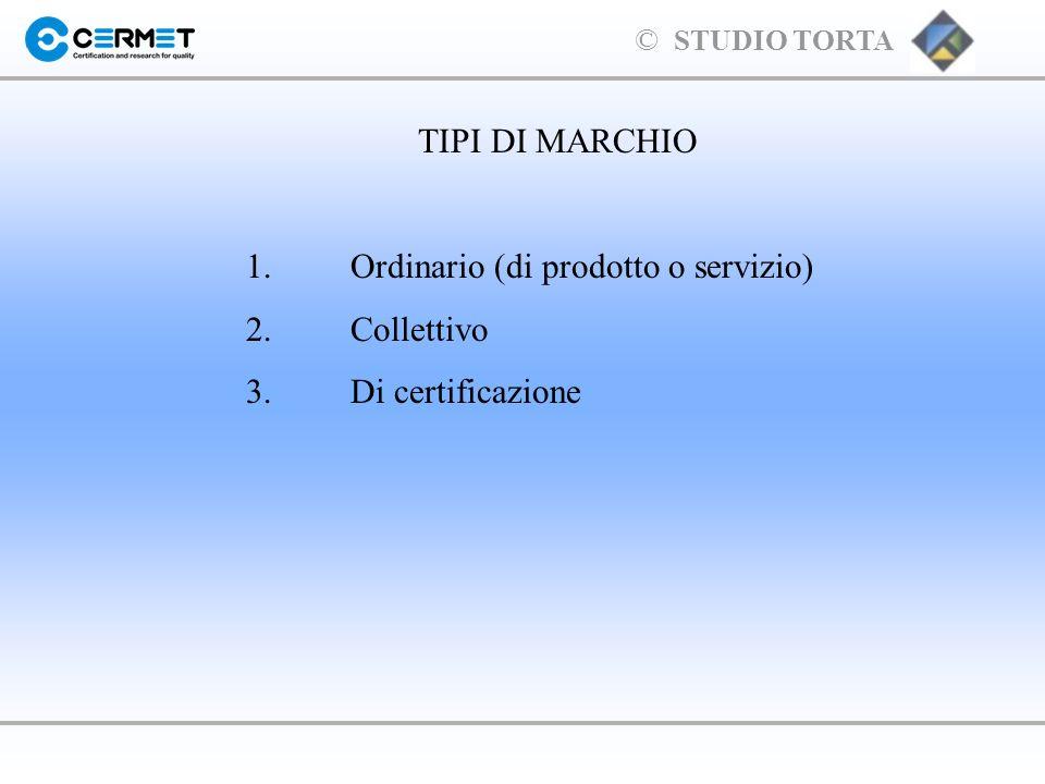 TIPI DI MARCHIO 1. Ordinario (di prodotto o servizio) 2. Collettivo 3. Di certificazione