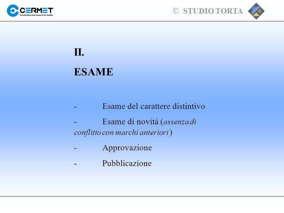 II. ESAME - Esame del carattere distintivo