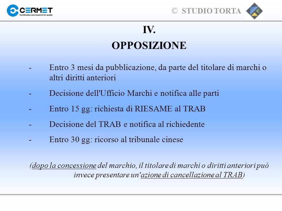 IV. OPPOSIZIONE. - Entro 3 mesi da pubblicazione, da parte del titolare di marchi o altri diritti anteriori.