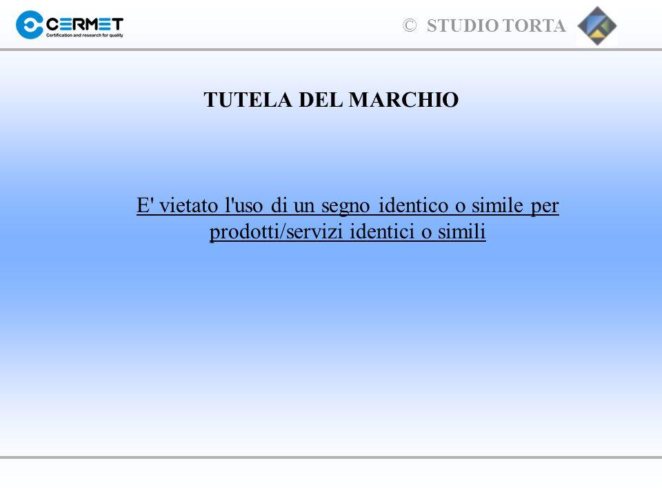 TUTELA DEL MARCHIO E vietato l uso di un segno identico o simile per prodotti/servizi identici o simili.