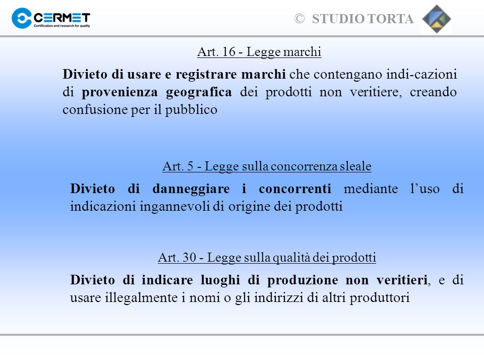 Art. 16 - Legge marchi