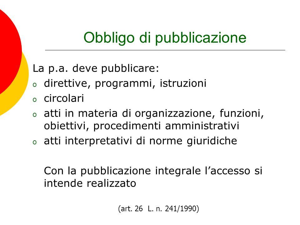 Obbligo di pubblicazione