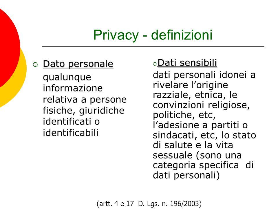 Privacy - definizioni Dato personale