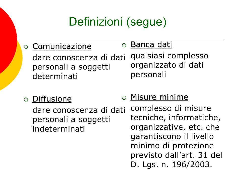 Definizioni (segue) Banca dati Comunicazione