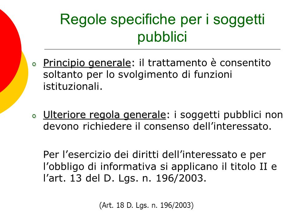 Regole specifiche per i soggetti pubblici