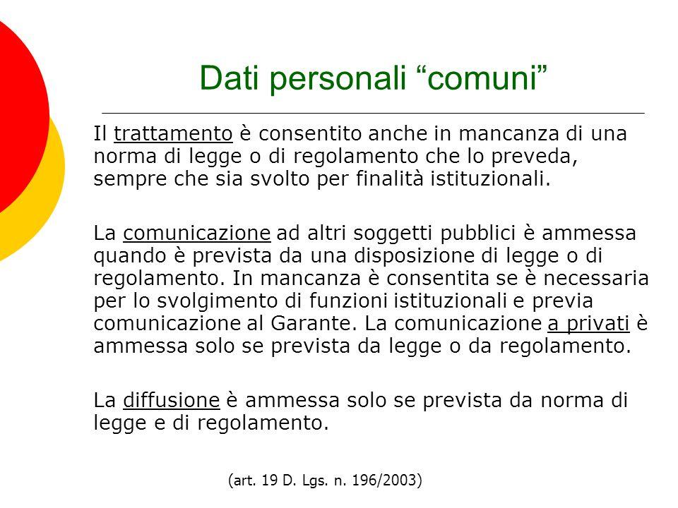 Dati personali comuni