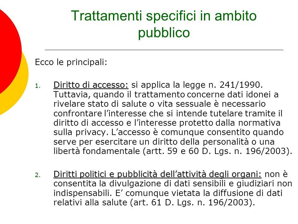 Trattamenti specifici in ambito pubblico