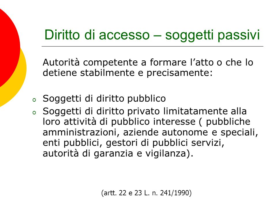 Diritto di accesso – soggetti passivi