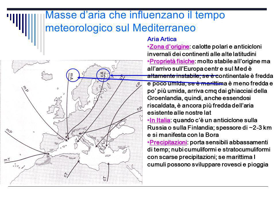 Masse d'aria che influenzano il tempo meteorologico sul Mediterraneo