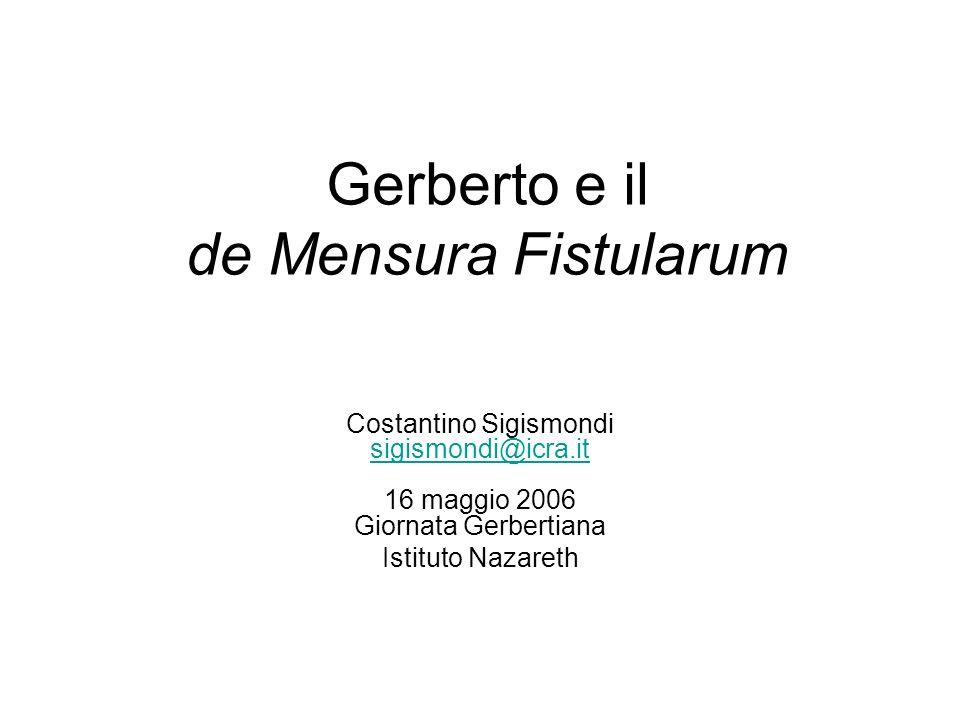 Gerberto e il de Mensura Fistularum