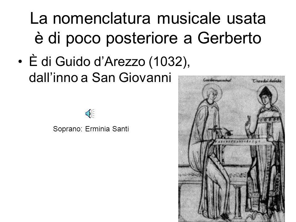 La nomenclatura musicale usata è di poco posteriore a Gerberto
