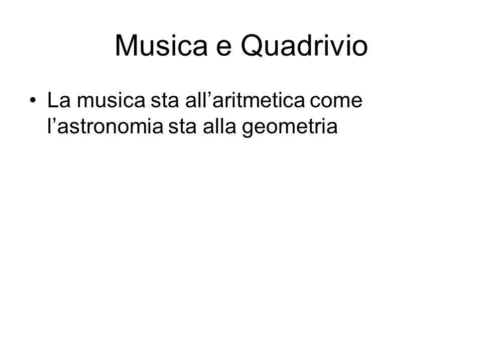 Musica e Quadrivio La musica sta all'aritmetica come l'astronomia sta alla geometria